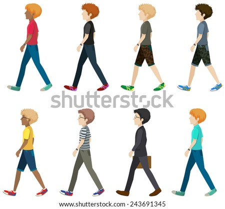 A group of faceless people walking in one direction on a white background - stock vector