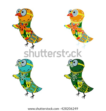 A group of four birds,colorful  wearing glasses