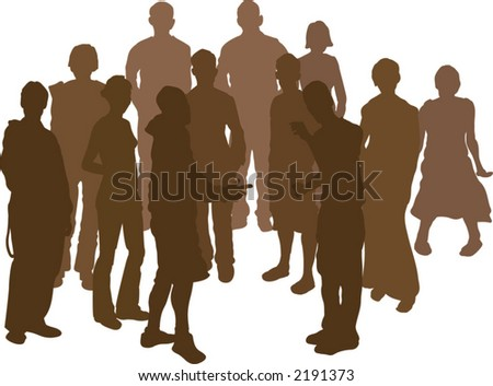 A group of 12 funky young friends. Each is a complete silhouette - stock vector