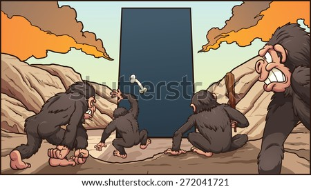 A group of hominids attacking a dark monolith. Vector clip art illustration with simple gradients. Each element on a separate layer. - stock vector