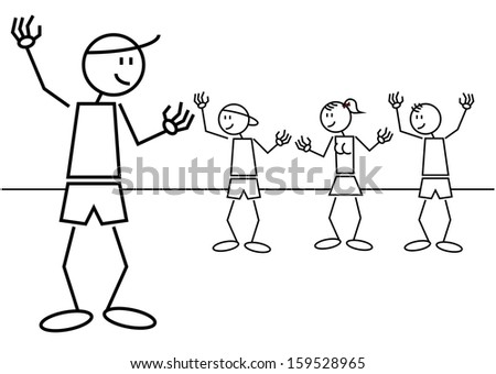 A group of kids greet a friend from far. Stick figures