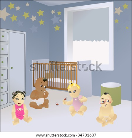 A group of lovely babies playing on a room with tinny lady bugs