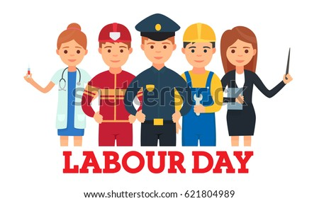 A Group Of People Of Different Professions. Doctor, fireman, policeman, teacher, worker. Set of occupations. Labour Day On 1 May. Logo, emblem, banner, Labor Day. Vector images in cartoon style