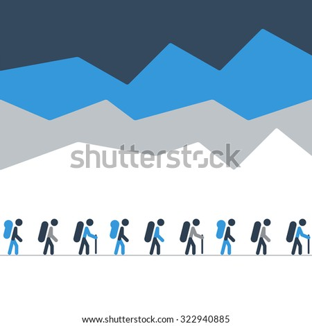 A group of people on a hike or expedition - stock vector