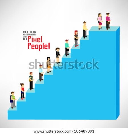 a group of people queuing up on a staircase vector icon design - stock vector