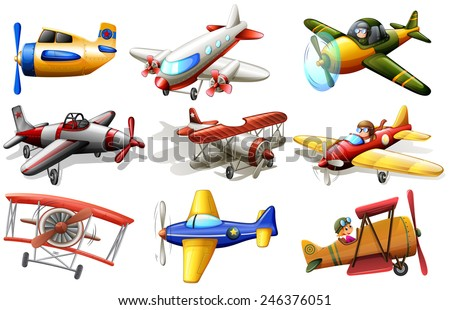 A group of planes on a white background  - stock vector