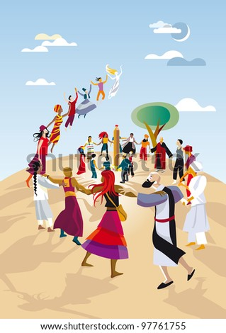A group of practitioners of different religions make a circle  and pray joining their hands. Ecumenical celebration. - stock vector