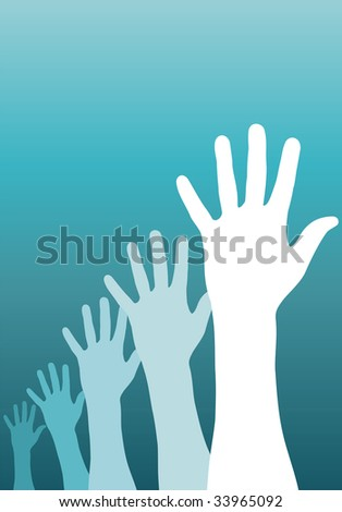 A group of raised hands.