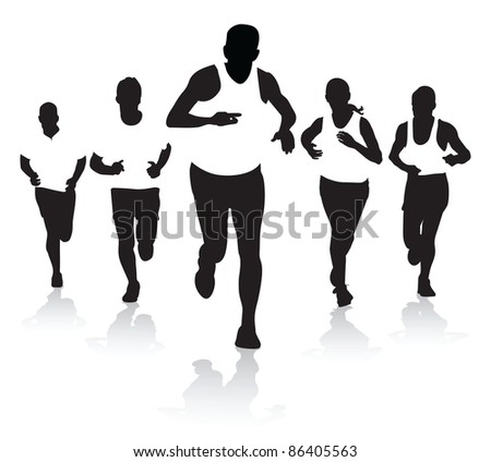 a group of runners - stock vector