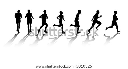 a group of silhouetted runners - stock vector