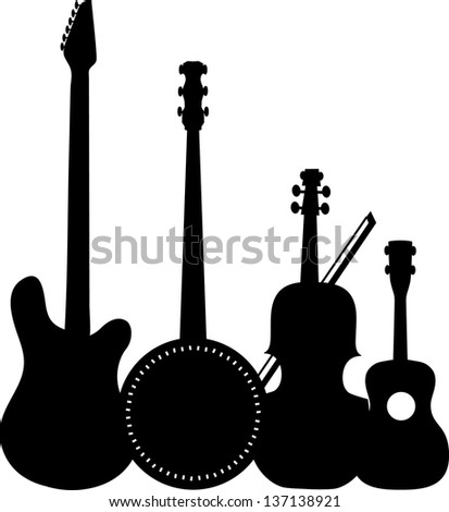 A group of silhouetted stringed instruments including an electric guitar, a banjo, a violin and a ukulele - stock vector