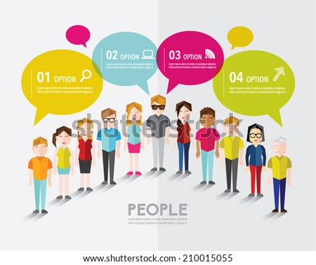 A group of social people gather and talk together vector ...