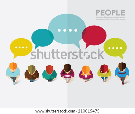 A group of social people gather and talk together vector design - stock vector