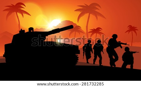 A group of soldiers and a military tank. Vector illustration - stock vector