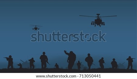 A group of soldiers and combat helicopters.