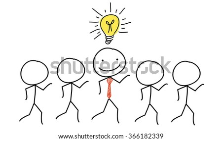 a group of stick men with one business stick man standing out with light bulb idea - stock vector