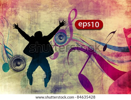 A group of very happy man jumping on grunge texture music background. - stock vector