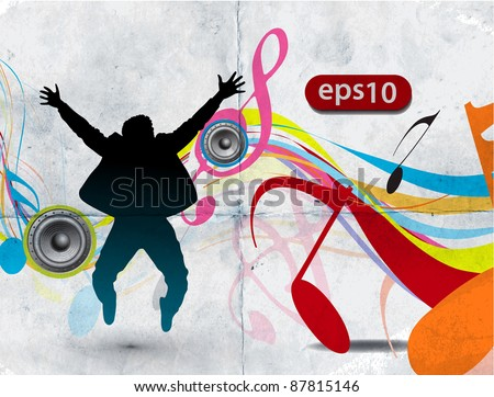 A group of very happy man jumping on grunge texture music background.