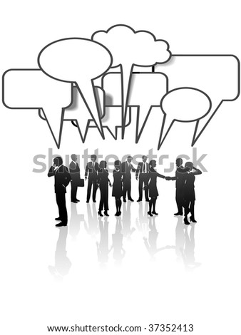 A group or team of business people talk and interact in many speech bubbles.