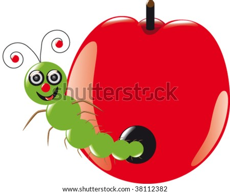 a grub in a red apple - stock vector