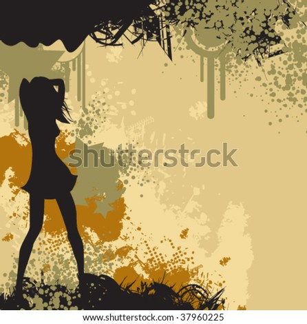 a grungy background with splatters and drips. - stock vector