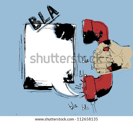 A grungy speech bubble coming out of a red handset, Graffiti style. Vector street art. - stock vector