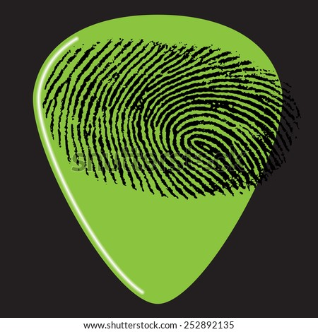 A guitar pick with a fingerprint on it for Print or Web - stock vector