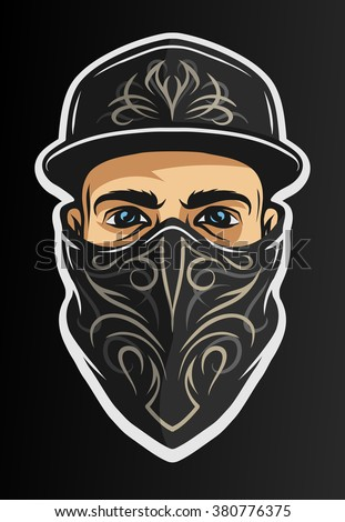 A guy in a baseball cap, and a bandana with a pattern. On dark background. - stock vector