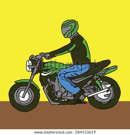 A Guy on a Motorcycle Riding in a Sportacular Sportbike Fashion with Matching Helmet and Jacket.  You Have to Buy Matching Everything if you Want to Look Cool in Front of Your Motovlogging Friends! - stock vector