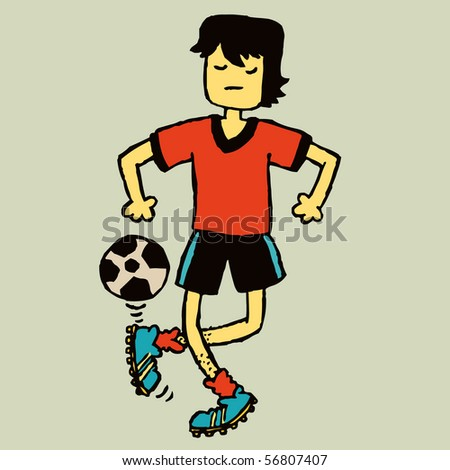 A guy showing off his football skills. - stock vector