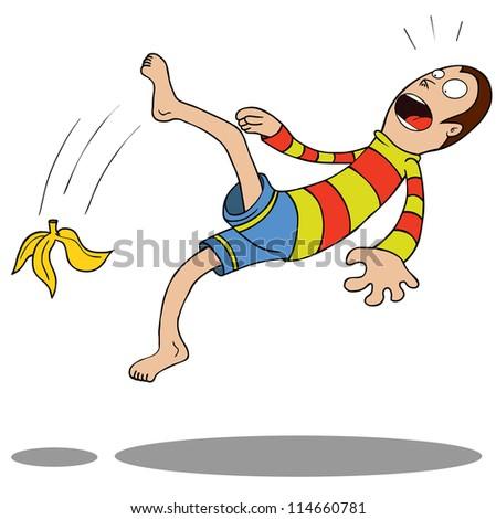 A guy slipped by a Banana. - stock vector