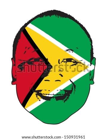 A Guyana flag on a face, isolated against white.  - stock vector