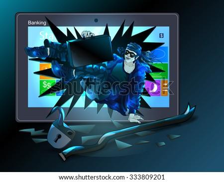 A hacker broke computer, broke the lock, stole secret case. Vector illustration. - stock vector