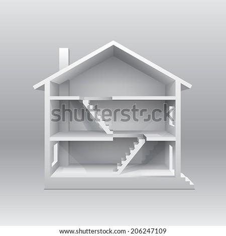 a half of house - stock vector