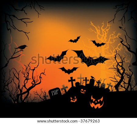 A Halloween background with jack-o-lanterns, bats, and crows.