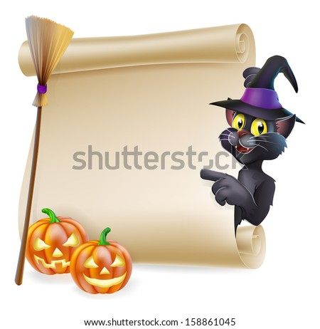 A Halloween black cat in witch's pointed hat pointing at the sign. Also with witch broom and carved pumpkins. - stock vector