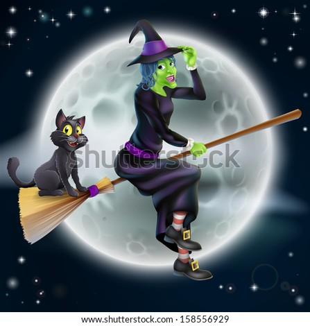 A Halloween illustration of a green witch flying on her broom with her cat in front of a star lit night sky with full moon - stock vector