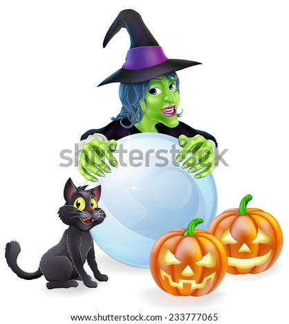 A halloween illustration of a witch, cat pumpkins and crystal ball