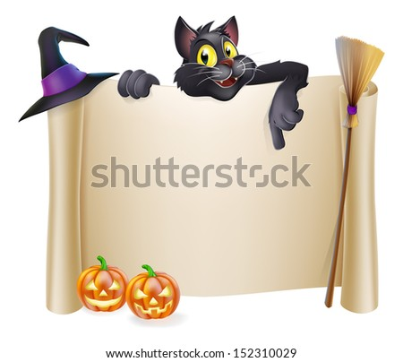 A Halloween scroll sign with a black cat character above the banner and pumpkins, witch's cats, hat and broomstick - stock vector