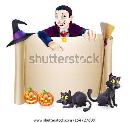 A Halloween scroll sign with a Dracula vampire character above the banner, pumpkins and witch's cats, hat and broomstick - stock vector