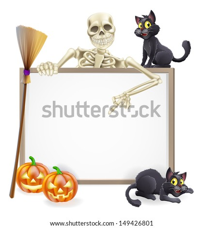 A Halloween sign with a classic skeleton character pointing down and witch's black cats, broomstick and Halloween carved orange pumpkins - stock vector