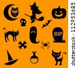 A Halloween silhouette icons collection - stock vector