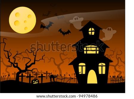 A Halloween themed wallpaper. - stock vector