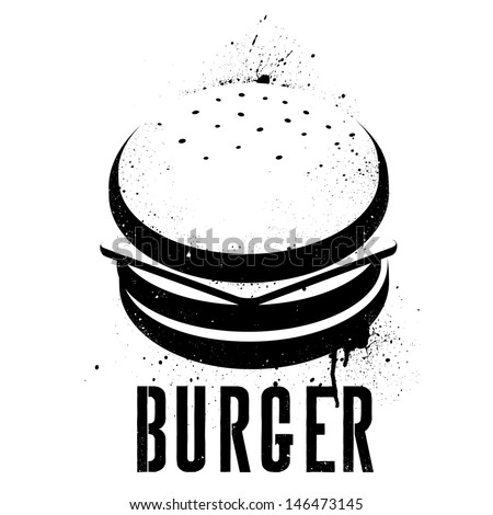 Hamburger Illustrated In Stencil Graffiti Style With A Hand Made