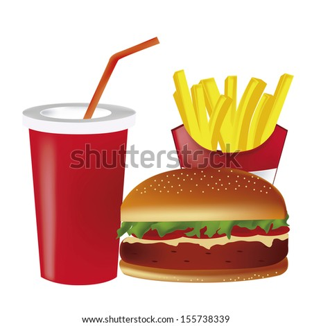a hamburger with tomato cheese and meat with french fries and a drink