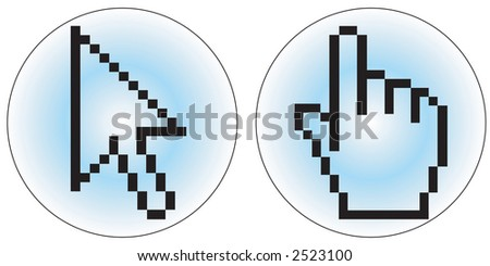 a hand and arrow cursor - stock vector