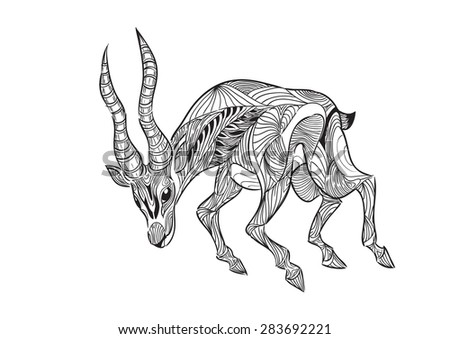 A hand draw of Gazelle in zentangle style - stock vector