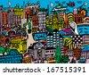 A hand drawn, cartoon style vector illustration of Dublin City, Ireland. - stock photo