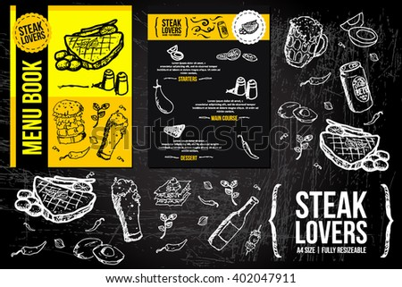 a hand drawn Menu Fliers template on Chalkboard Ads, including banners, frames, labels, swirls and advertisements for restaurant, coffee shop, bakery, bbq party or any food party invitations.