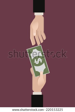 A hand giving money another hand. Flat vector illustration - stock vector